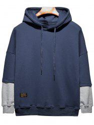 Plus Size Hooded Color Block Panel Raglan Sleeve Hoodie - CADETBLUE XL