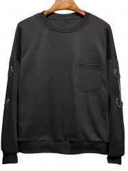 Manteau Raglan Métallique Loop Embellished Plus Size Sweatshirt - Noir 5XL