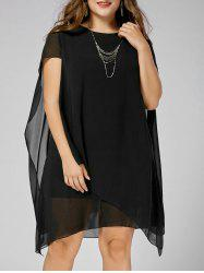 Asymmetric Chiffon Plus Size Cape Dress - BLACK