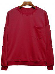 Raglan Sleeve Metallic Loop Embellished Plus Size Sweatshirt - RED