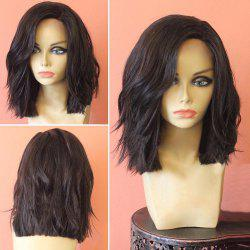 Medium Side Parting Layered Slightly Curly Synthetic Wig - BLACK AND BROWN