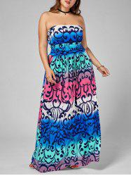 Printed Floor Length Plus Size Strapless Dress