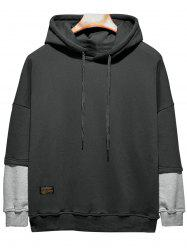 Plus Size Hooded Color Block Panel Raglan Sleeve Hoodie - Noir