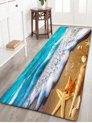 Beach Starfish Printed Antislip Flannel Rug - BLUE AND YELLOW W24 INCH * L71 INCH