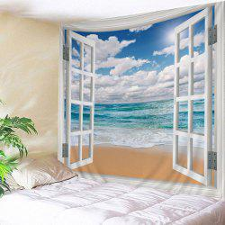 Waterproof Faux Window Beach Print Wall Tapestry