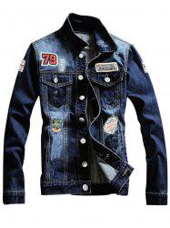 Single Breasted Graphic Appliques Ripped Denim Jacket