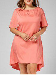 Plus Size Short Sleeve Midi Dress with Tie