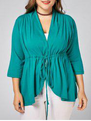 Drawstring  V Neck Plus Size Peplum Top