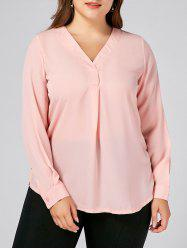 Long Sleeve V Neck Chiffon Plus Size Top