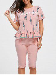 Flounce T-shirt Cotton Pajamas Set