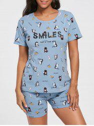 Cotton Print T-shirt Pajamas Suit
