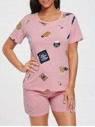 Cotton Print T-shirt Pajamas Set
