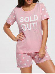 Polka Dot T-shirt Cotton Pajamas Set