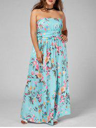 Floor Length Floral Plus Size Bandeau Maxi Dress