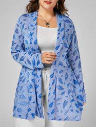 Open Front Feather Print Plus Size Longline Coat - CLOUDY