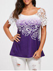 Floral Lace Trim Cutwork T-shirt - WHITE + PURPLE