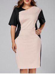 Fitted Plus Size Two Tone Sheath Work Dress