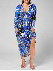 Long Sleeve Palm Leaf Print Plus Size Long Dress