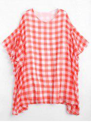 Flounce Checked Plus Size Mini Poncho Dress