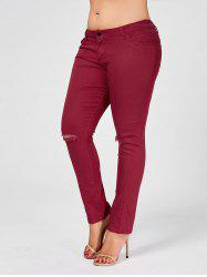 Skinny Plus Size Ripped Jeans - WINE RED 2XL
