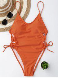 Maillot de bain à lacets Backless à haute coupe - Tangerine L