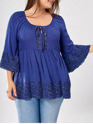 Plus Size Flare Sleeve Lace Panel Top