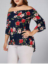 Plus Size Floral Printed Off Shoulder Top
