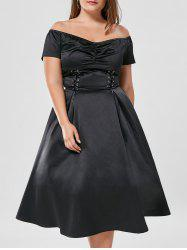 Lace Up Off The Shoulder Plus Size Midi Dress