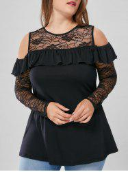 Plus Size Cold Shoulder Lace Yoke Blouse - BLACK