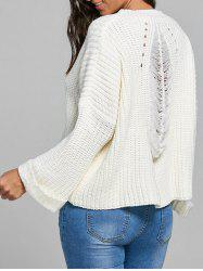 Pullover Back Ripped Openwork Sweater