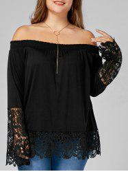 Off The Shoulder Plus Size Lace Trim Top - Noir