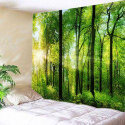 Sun Forest Print Tapestry Wall Hanging Art Décoration - Vert