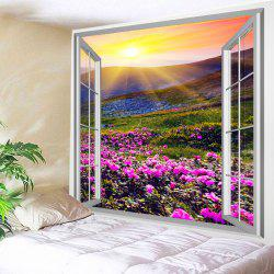 Fenêtre Sun Flower Print Tapestry Wall Hanging Décoration d'art -