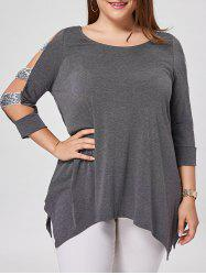 Plus Size Sequin Ladder Cut Top