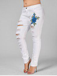 Plus Size Ripped Embroidered Skinny Jeans