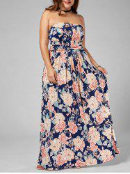 Long Floral Plus Size Strapless Dress