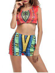 Ethnic Printed Crop Top With High Waisted Shorts - ORANGE RED 2XL