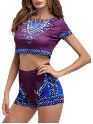 Ethnic Printed Crop Top With High Waisted Shorts - PURPLISH RED