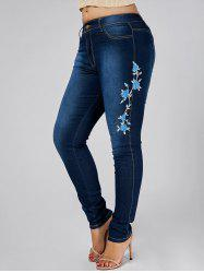 High Waist Plus Size Flower Embroidered Skinny Jeans - DENIM BLUE