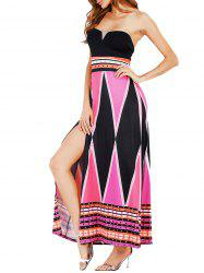 High Slit Color Block Strapless Maxi Dress