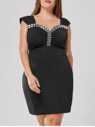 Plus Size Rhinestone Detail Fitted Dress