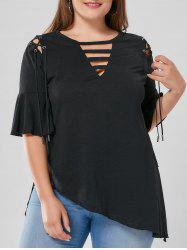 Plus Size Lace Up Flare Sleeve Top