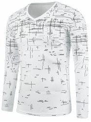Long Sleeve V Neck Cross Print Tee