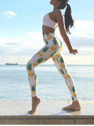 Pineapple Print Fitted Yoga Pants - WHITE L