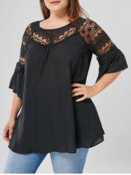 Plus Size Flare Sleeve Lace Yoke Blouse