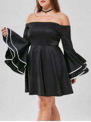 Plus Size Bell Sleeve Off The Shoulder Dress