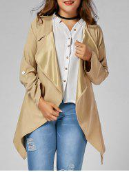 Plus Size Open Front Asymmetric Coat