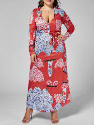 Long Sleeve Printed Plus Size Floor Length Dress -