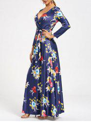 V Neck Long Floral Surplice Maxi Dress -