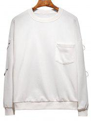 Raglan Sleeve Metallic Loop Embellished Plus Size Sweatshirt -